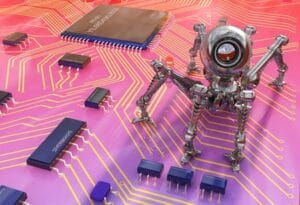 Robot camera on the board of chips