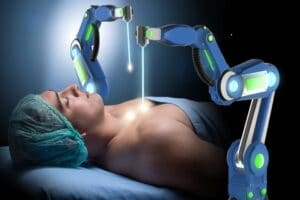 Surgery performed by robotic arms
