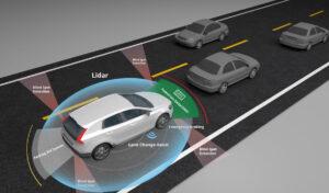 Autonomous self-driving car showing Lidar